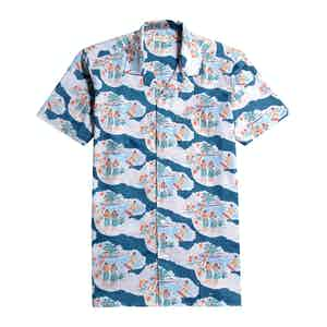 White and Blue Organic Cotton Waikiki Print Stachio Short-Sleeved Shirt