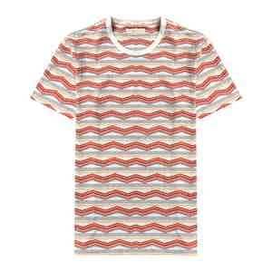 Arabesque Orange Organic Cotton Pacific Stripe Printed T-Shirt