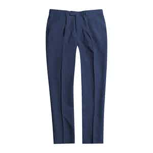 Blue Linen Pleated Trousers