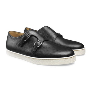 Black Grain Calf Leather and Rubber Double-Buckle Holme Shoe