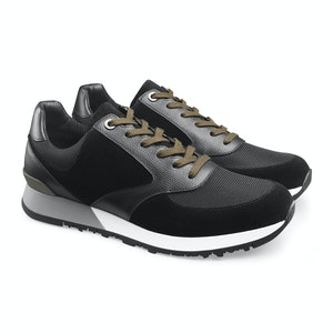 Black Suede and Grain Calf Leather Tech Foundry Sneaker