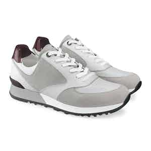 Grey and Burgundy Suede and Grain Calf Leather Tech Foundry Sneaker