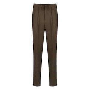 Chocolate Irish Linen T005 Drawstring Trousers