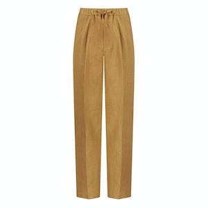 Caramel Irish Linen T005 Drawstring Trousers