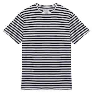 Navy Striped Cotton TS04 T-Shirt