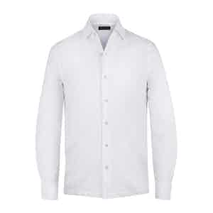 White Cotton Pique Long-Sleeved Shirt