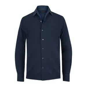 Blue Cotton Pique Long-Sleeved Shirt