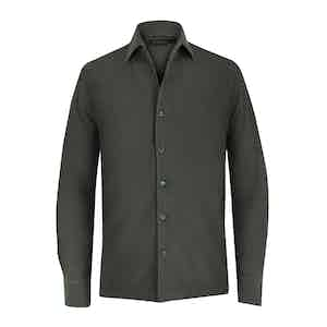 Green Cotton Pique Long-Sleeved Shirt