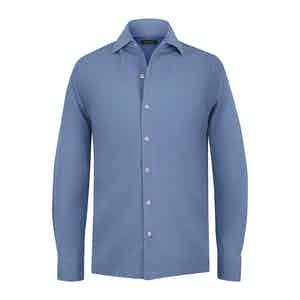 Azure Blue Cotton Pique Long-Sleeved Shirt