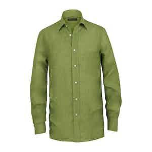 Moss Green Linen Pocket Shirt