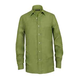 Moss Green Linen Pocket Shirt