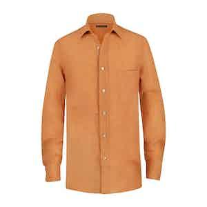 Orange Linen Pocket Shirt