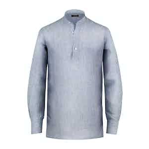 White and Blue Striped Linen Guru Shirt