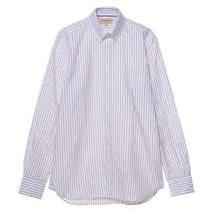 Purple and White Cotton and Linen Blend Striped Button Down Collar Oxford Shirt