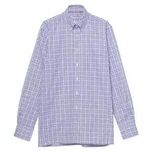 Purple and White Cotton Check Button Down Collar Oxford Shirt
