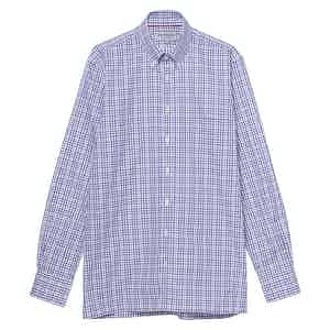 Purple and White Cotton Check Button Down Collar Oxford Shirt