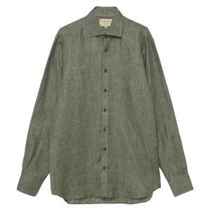 Dusky Green Linen Twill Shirt