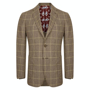 Brown Windowpane Check Wool & Cashmere Single-Breasted Jacket