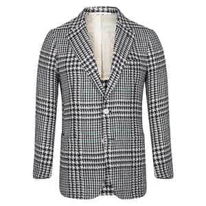 Navy Exploded Houndstooth Linen & Silk Blend Jacket
