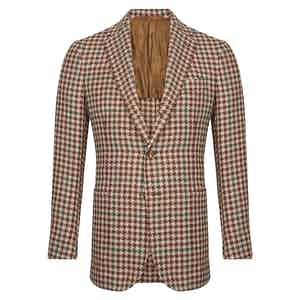 Burgundy and Green Linen Wool and Cotton Mix Houndstooth Single-Breasted Jacket