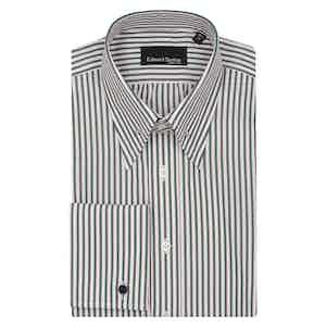 Green Bengal Cotton with Pink Shadow Stripe Pin Collar Shirt