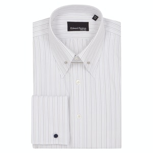 White Blue and Grey Cotton Striped Pin Collar Shirt
