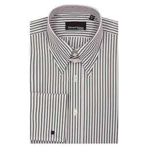 Green Bengal Cotton with Pink Shadow Stripe Tab Collar Shirt