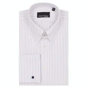 White Red and Blue Cotton Striped Tab Collar Shirt