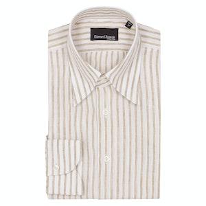 Beige Linen Striped Hidden Button Down Shirt