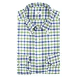 Green Blue and White Cotton Check Button-Down Shirt