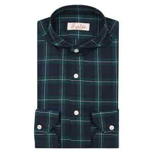 Dark Green and Blue Cotton Check French Collar Shirt
