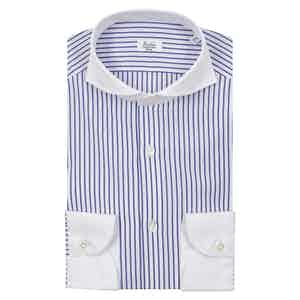 White and Blue Egyptian Cotton Cam Striped Contrast Collar Shirt