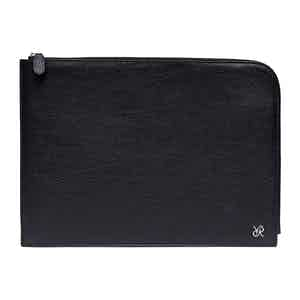 Black Leather and Lambswool Johnston's of Elgin X Rapport Portfolio Case