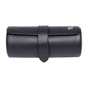 Black Leather and Lambswool Johnston's of Elgin X Rapport Three Watch Roll