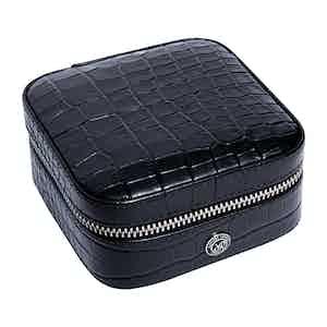 Black Leather Director's Range Small Cufflink Box