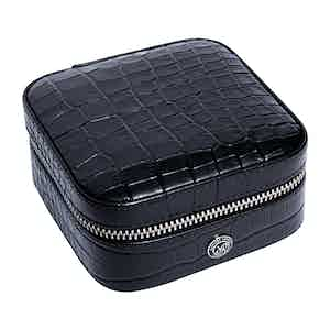 Black Leather Director's Range Small Cufflink Box