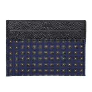 Navy & Green Squares Silk & Leather Card Holder