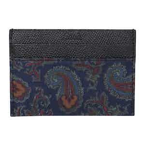 Navy Paisley Silk & Leather Card Holder