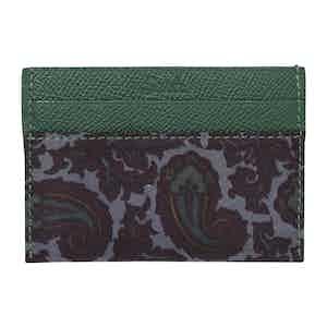 Green & Grey Paisley Silk & Leather Card Holder