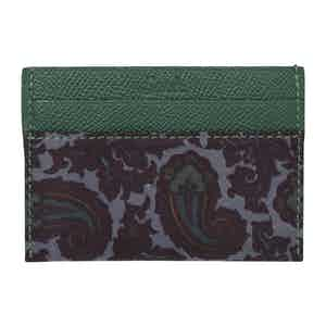Green & Grey Paisley Silk & Leather Card Holder