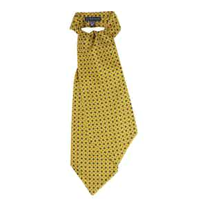 Yellow Patterned Silk Ascot