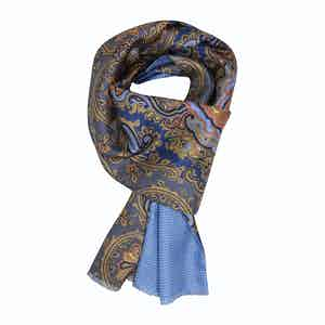 Light Blue & Orange Paisley Silk Scarf