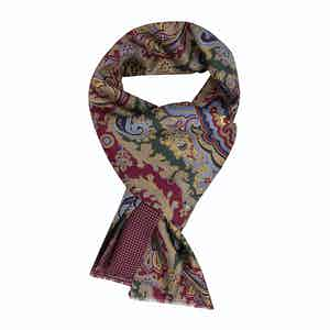 Green & Red Paisley Silk Scarf