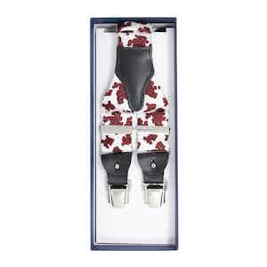 White & Red Paisley Silk Suspenders