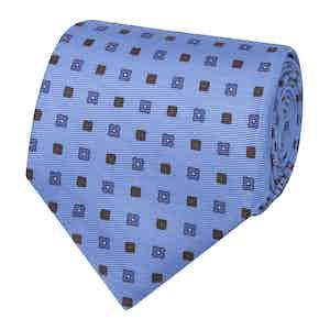 Light Blue & Brown Floral Silk Tie
