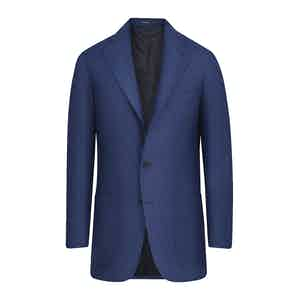 Blue Wool Deconstructed Single-Breasted Jacket