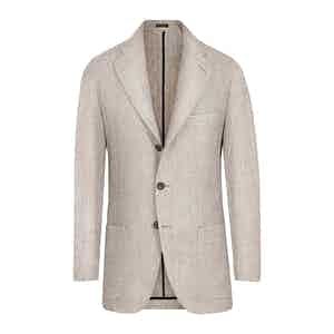 Beige Linen and Wool Single-Breasted Jacket