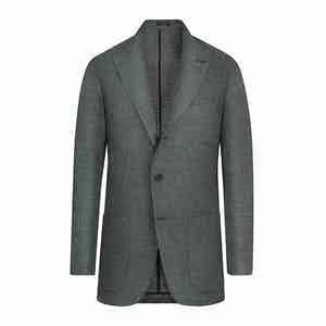 Green Linen and Wool Single-Breasted Jacket