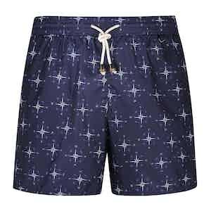 Blue Polyester Match Race Swim Shorts