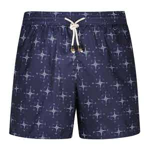 Blue Polyester Match Race Swim Shorts